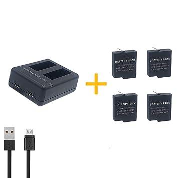 4 Piezas 1600 mAh AHDBT-501 AHDBT501 Batería para GoPro HD Hero 5 Hero 6 Hero 7 (4 Piezas Batería con Cargador)