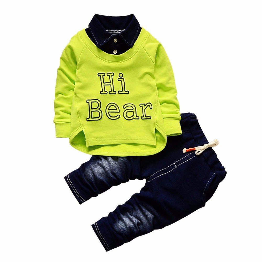 """Conjunto de Bebé Niño, Covermason """"Hi Bear"""" Impresión Largo Camisa y Casual Mezclilla Pantalones para 0-24M Covermason-55"""