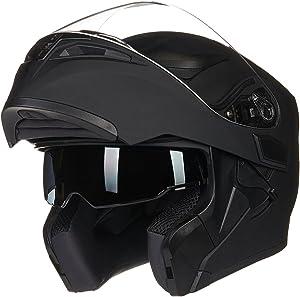 ILM Motorcycle Dual Visor Flip up Modular Full Face Helmet DOT 6 Colors (M, MATTE BLACK)