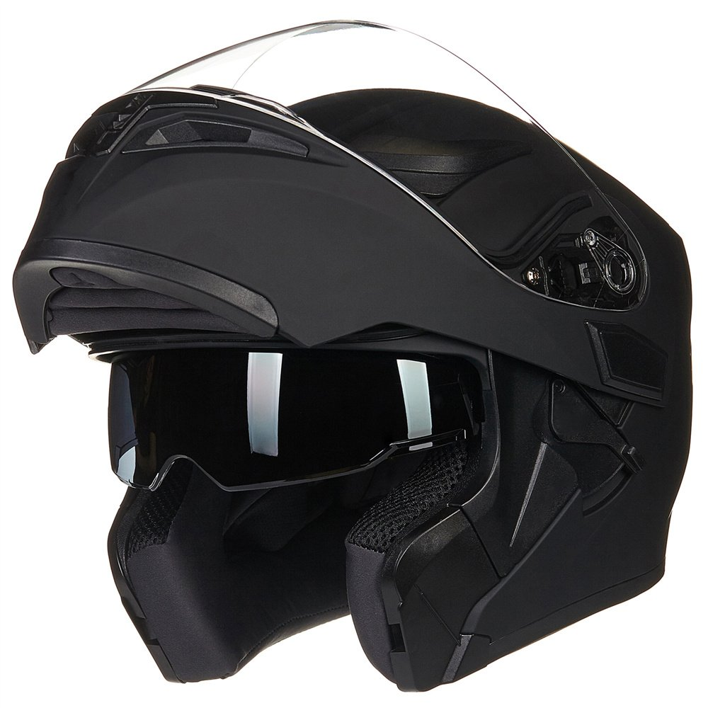 ILM Motorcycle Dual Visor Flip up Modular Full Face Helmet DOT 6 Colors (M, MATTE BLACK)