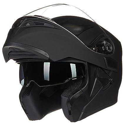 4f155f44 Amazon.com: ILM Motorcycle Dual Visor Flip up Modular Full Face Helmet DOT  with 6 Colors (L, MATTE BLACK): Automotive
