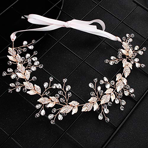 (FaFaVila Rose Gold Wedding Silver Vines Handmade Bridal Headband Hair Accessories for Bride and Bridesmaid, with Crystal Beads, Rhinestones, Ivory Beads (01))