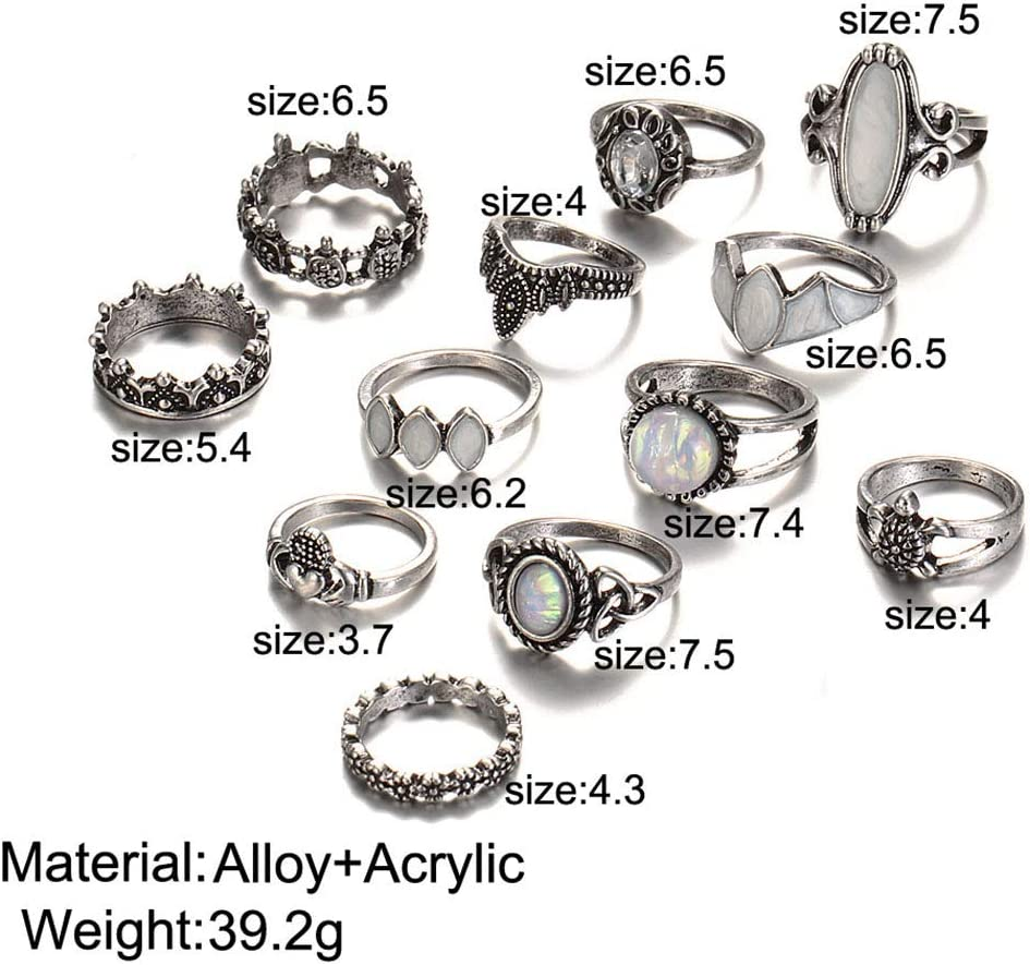Yean Lot de 12 bagues de phalanges vintage en argent avec opale pour femme et fille