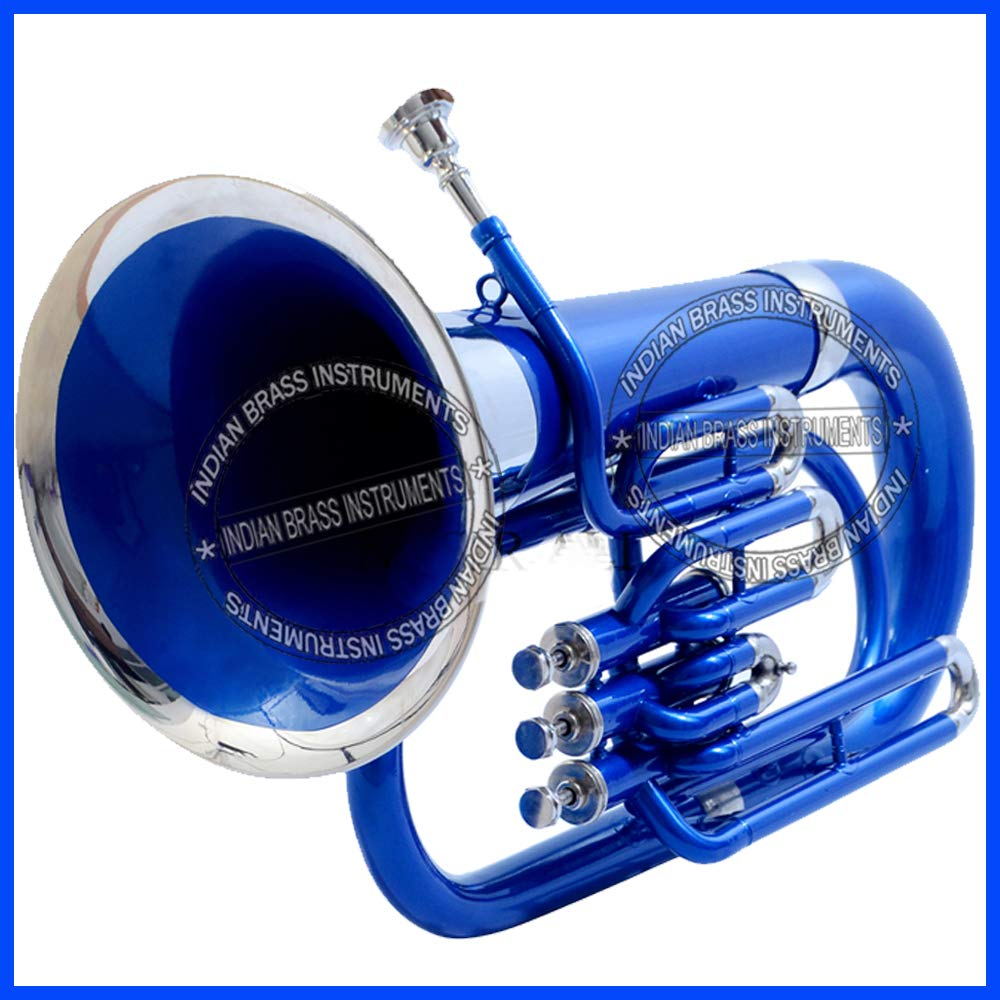 NASIR ALI EUPHONIUM BLUE + NICKEL LACQUER Bb PITCH WITH FREE CARRY BAG + MOUTH PIECE by NASIR ALI