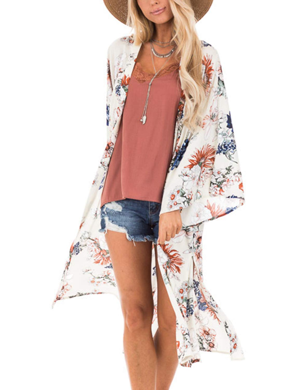 Women's Open Front Top Chiffon Kimono Bell Sleeve Floral Long Cover Ups