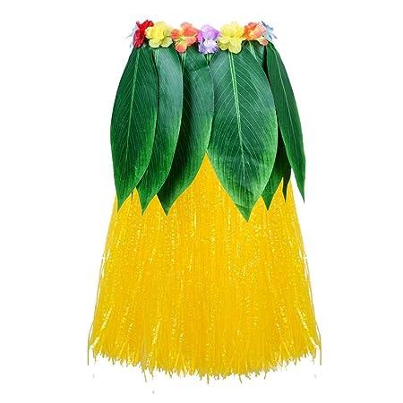 Wetour Estilo Hawaiano Falda de Hula Falda de Hierba Falda ...