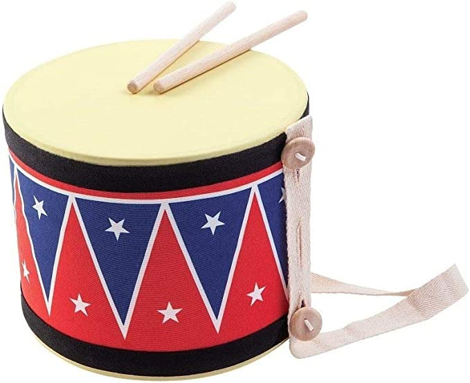 PlanNatural Classic Wooden Toy Collection Sustainably Made from Rubberwood and Non-Toxic Paints and Dyes 6439 PlanToys Solid Drum Musical Instrument in Natural Wood