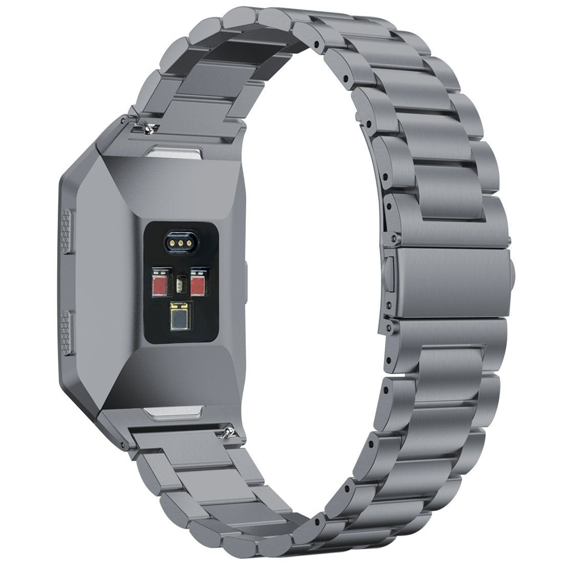 iiteeology Compatible Fitbit Ionic Band, Stainless Steel Metal Band with Butterfly Clasp for Fitbit Ionic Smart Watch (Link Band - Smoke Gray)