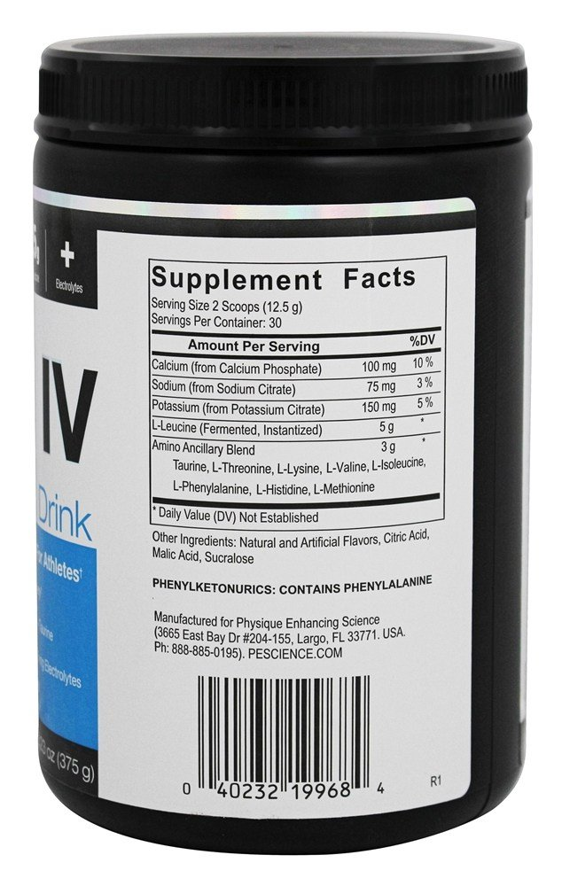 PEScience - Brisa amino de la fresa de la bebida del intravenoso BCAA - 13,23 oz.: Amazon.es: Salud y cuidado personal