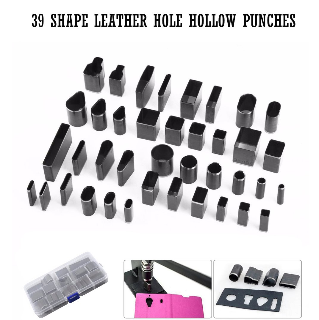 Leather Punch Cutter Set,Fashionclubs 39 Shape Leather Craft DIY Hole Hollow Steel Cutter Punch Tool Kit For Handmade,Polymer Clay Jewelry DIY Tool,with Plastic Storage Case