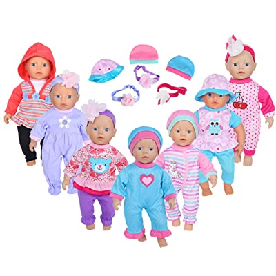 ebuddy 7sets Doll Playtime Outfits Clothes Hat Headband for 10-inch Baby Dolls /12-inch Alive Baby Dolls New Born Baby Dolls: Toys & Games