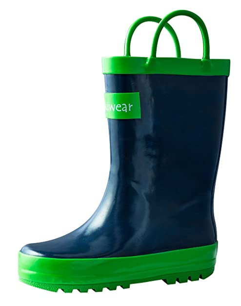 61d927e1d1854 OAKI Kids Waterproof Rain Boots with Easy-On Handles, Navy Blue, 5T ...