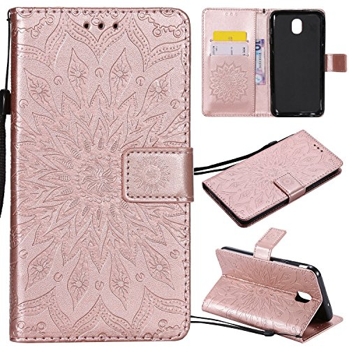 Price comparison product image Galaxy J7 Star / J7 2018 / J7 Refine / J7 Top / J7 Aura / J7 Eon / J7 Aero / J7 Crown / J7 V 2nd Gen Case, PU Leather Case Sun Flower Pattern Purse with Kickstand Flip Cover Card Holders Hand Strap Rose Gold