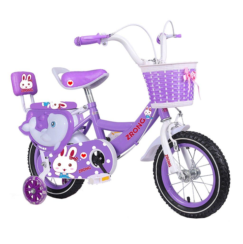 キッズ自転車210歳の女の子子供ペダル自転車ガールズベビーカープリンセスパープル100kg (サイズ さいず : 14inch) B07F2GXRB614inch