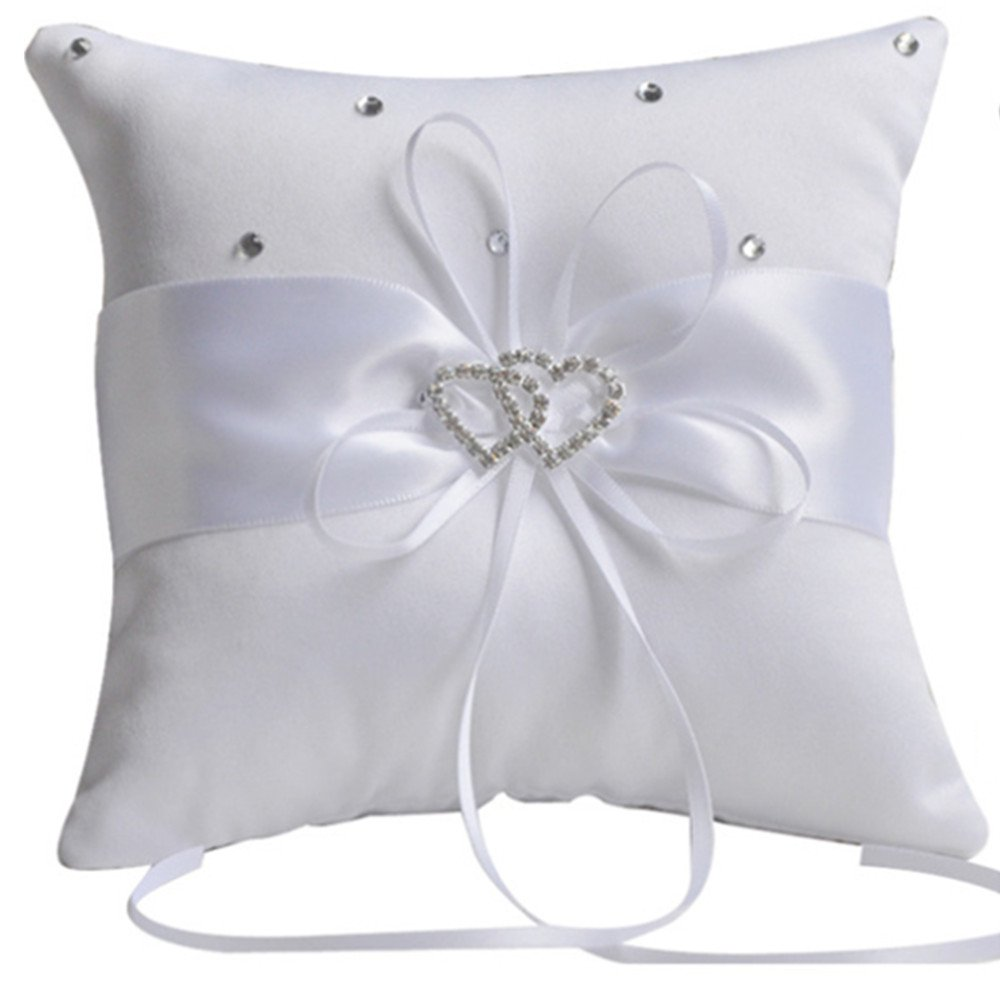 he andi 7.8'' Satin Double Hearts Decoration Wedding Ring Bearer Pillow (White)