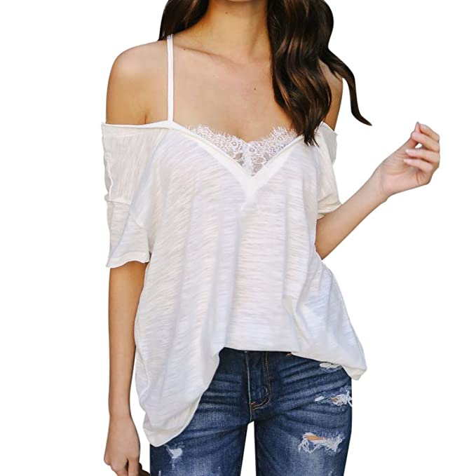 T-shirt Damen Longshirt Weißes T-Shirts Elegante Blusen Tops mit  Spitzenshirts Boho Sommer 9ddad8ee62