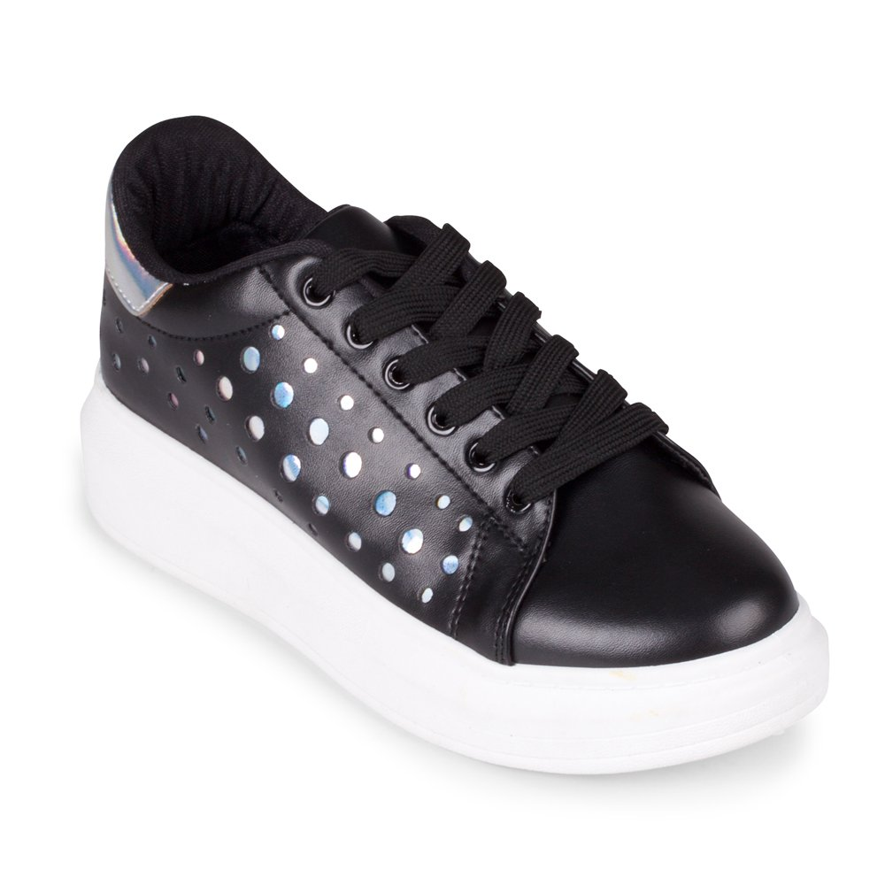 Wanted Cayenne Lace up Fashion Sneaker - (Black/Silver, 7)