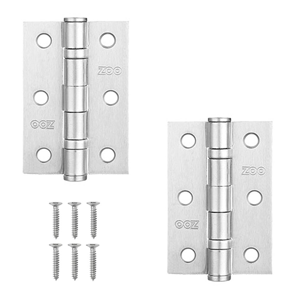 4 Pairs Door Hinge 3' 75mm Ball Bearing Hinges Satin Chrome Suit Internal Doors Pair (4) Zoo Hardware