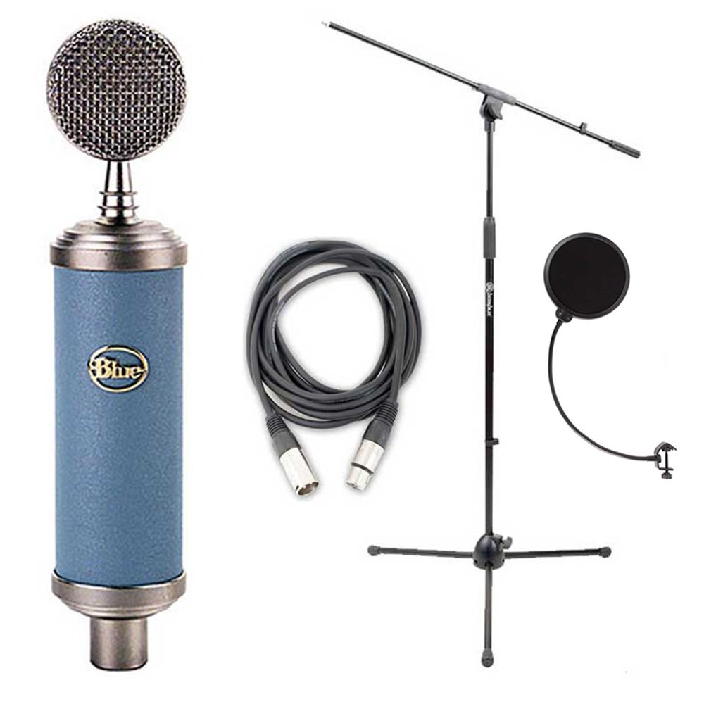 Blue Bluebird Microphone Bundle with Mic Boom Stand, XLR Cable and Pop Filter Popper Stopper