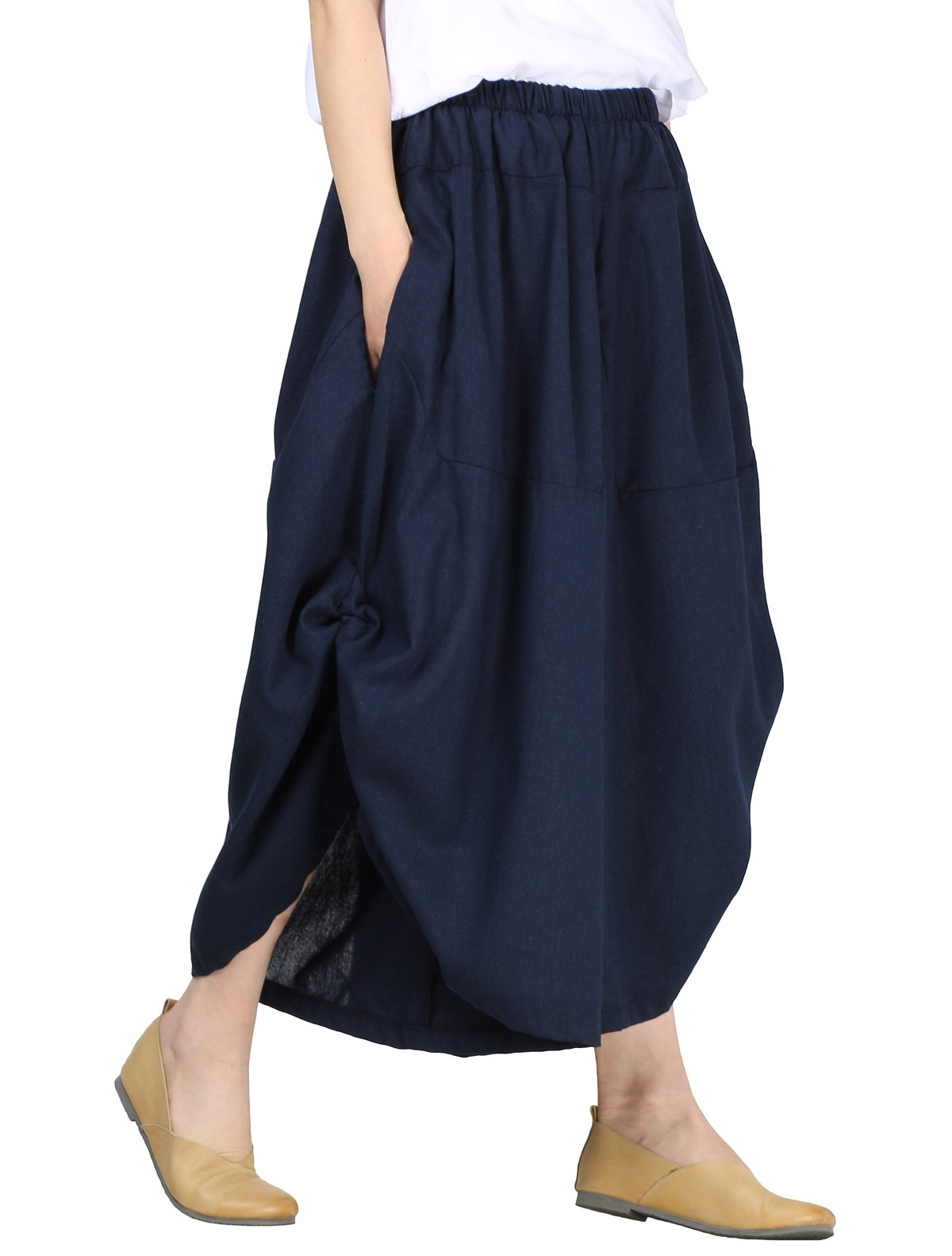 Mordenmiss Women's New Elastic Waist Wide Leg Pants with Pockets (L, Style 1-Dark Blue)