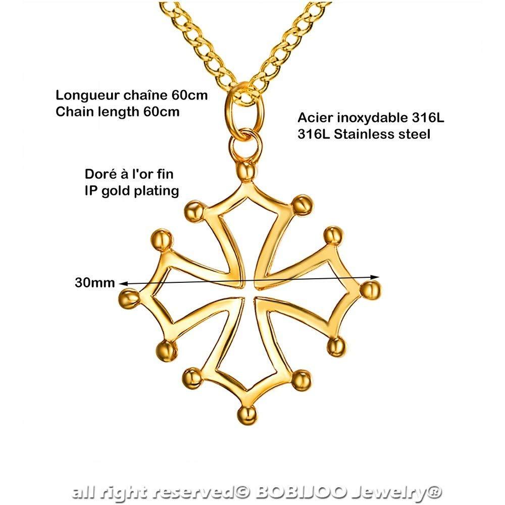 Pendentif Collier Homme Croix Occitane du Languedoc de Toulouse Acier Plaqu/é Or BOBIJOO Jewelry