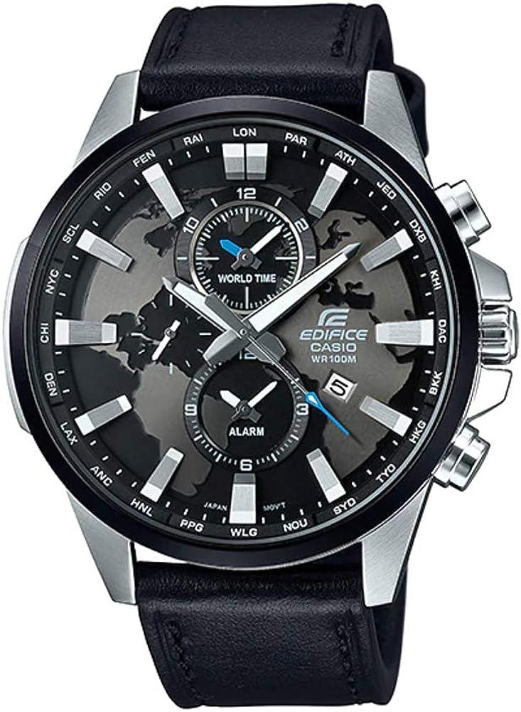 【10年保証】【日本未発売】CASIO カシオ エディフィス EFR-303L-1A 腕時計 メンズ アナログ 防水 シルバー ブラック 黒 レザー 革ベルト 海外モデル