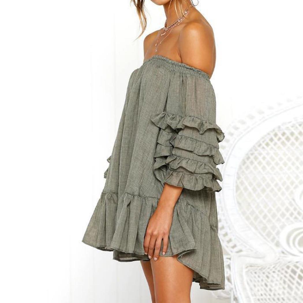 c055a5602d5 Caopixx Women Off Shoulder Loose Ruffled Half Sleeved Evening Party Dresses  Short Mini Dress at Amazon Women s Clothing store