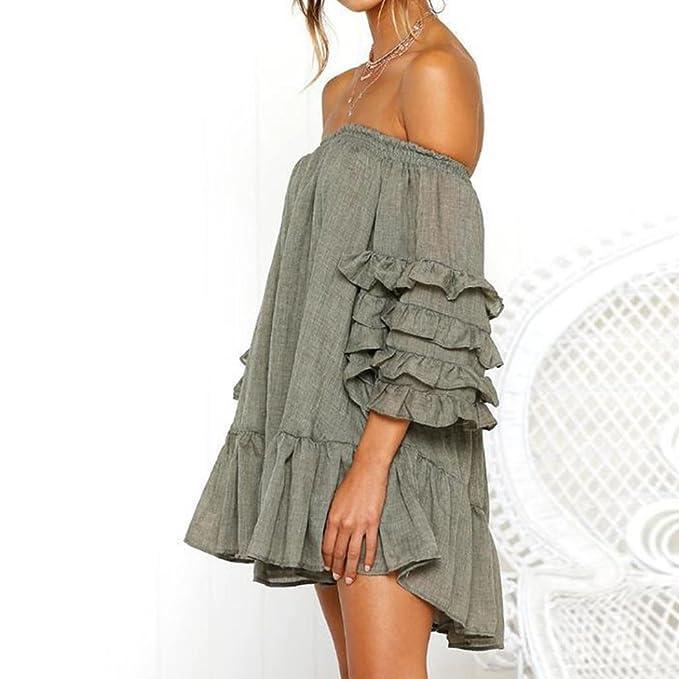 c963ca196f5 Caopixx Women Off Shoulder Loose Ruffled Half Sleeved Evening Party Dresses  Short Mini Dress at Amazon Women s Clothing store