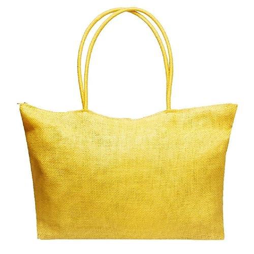 QUICKLYLY Bolsa de Playa de Lona Mujer Grande Bolso de Mano Shopper Bolsa con Cremallera Paja Bolsa de Hombro