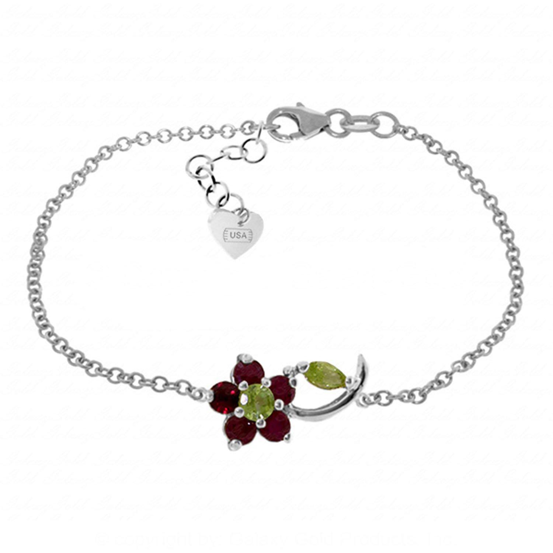 Galaxy Gold 0.87 Carat 14K Solid White Gold Flower Bracelet Ruby Peridot