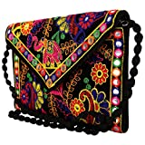 Craft Trade Handmade Designer Embroidered Rajasthani Clutch Bag For Women's Black