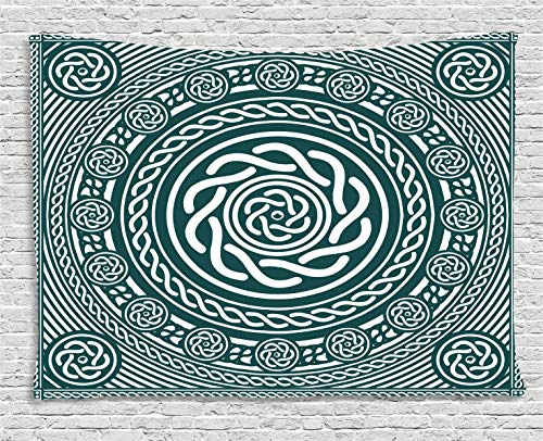Ambesonne Celtic Decor Collection, Ethnic Irish Circular Design with Clockwise Twisty Spiral Lines Insular Art Decor, Bedroom Living Room Dorm Wall Hanging Tapestry, 60W X 40L Inch, Multi ()