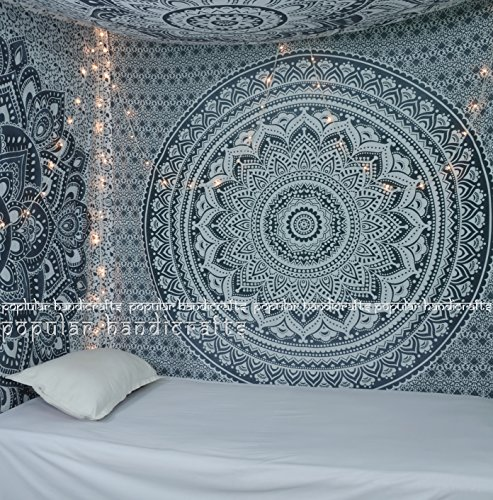 Popular Handicrafts large Ombre Tapestry Indian Mandala Wall Art, Hippie Wall Hanging, Bohemian Bedspread multi purpose tapestries 84x90 Inches,(215x230cms)Exclusively By Popular Handicrafts