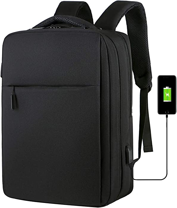 Business Laptop Backpack Anti-theft Laptop Bag Fits 14 15 15.6 Inches Notebook with USB Charging Port Business Travel Computer Bag Water Resistant School Bag College Bookbag for Women & Men, Black