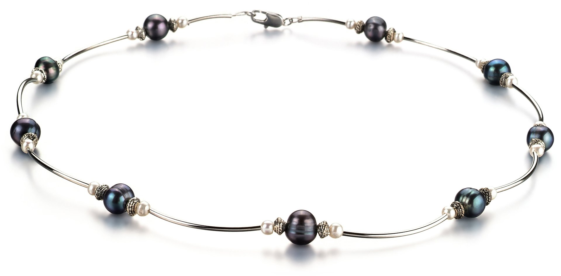 Sophia Black and White 5-7mm A Quality Freshwater Cultured Pearl Necklace-18 in Princess length