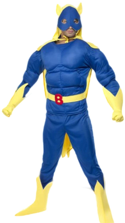 Zauberclown Herren Kostüm Bananaman mit Top, Hose, Umhang, Maske, Handschuhe und Überziehstiefel, M, Blau-gelb