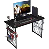 Need Gamer Gaming Desk -Home Computer Desk with Storage Shelves Black Gaming Table with RGB LED Soft Gaming Mouse Pad…