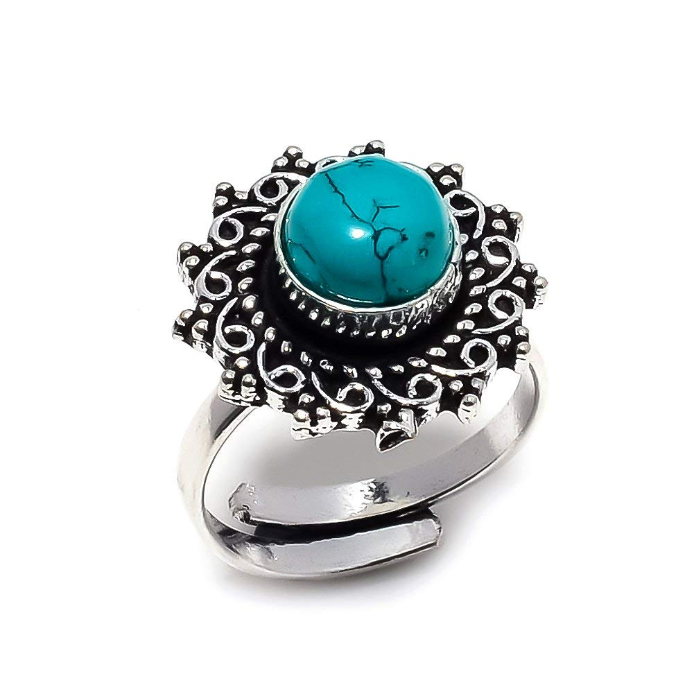 Handmade Jewelry Blue Turquoise Silver Plated 4 Grams Ring 6 US Sizeable Top On Trending