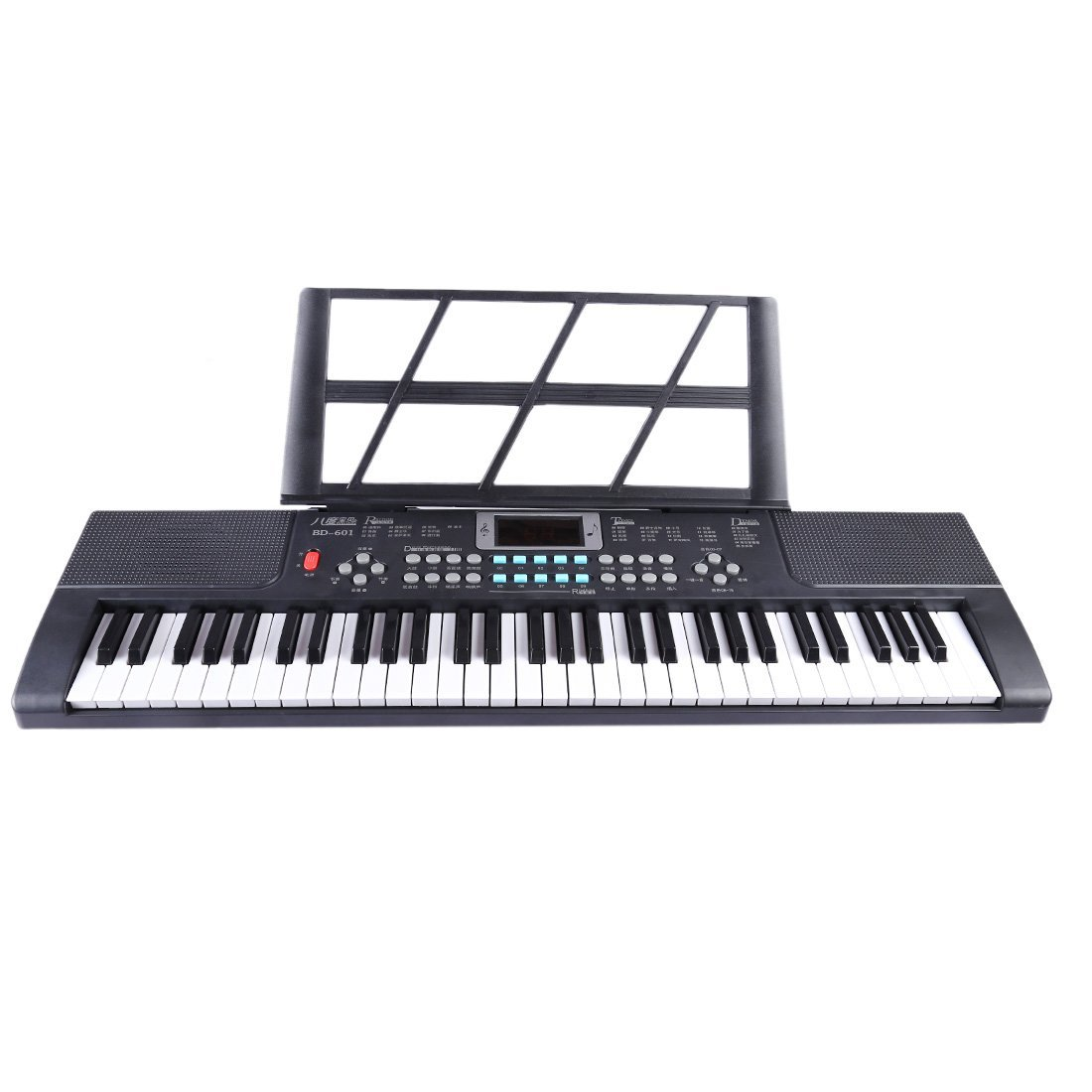 MingCheng 61-Key Digital Music Piano Keyboard Portable Electronic Electronic Organ with Microphone - Black