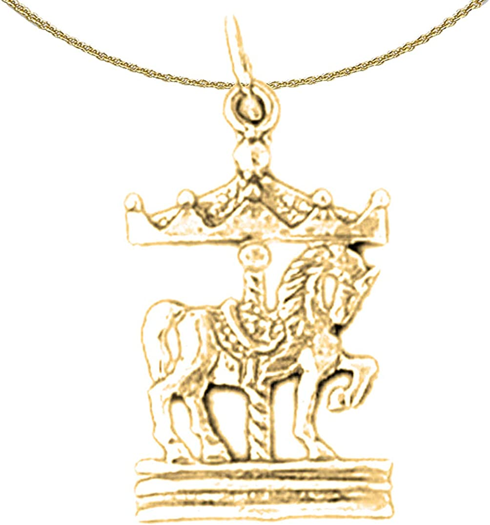 Jewels Obsession Silver Carousel Horse Pendant 14K Yellow Gold-plated 925 Silver Carousel Horse Pendant