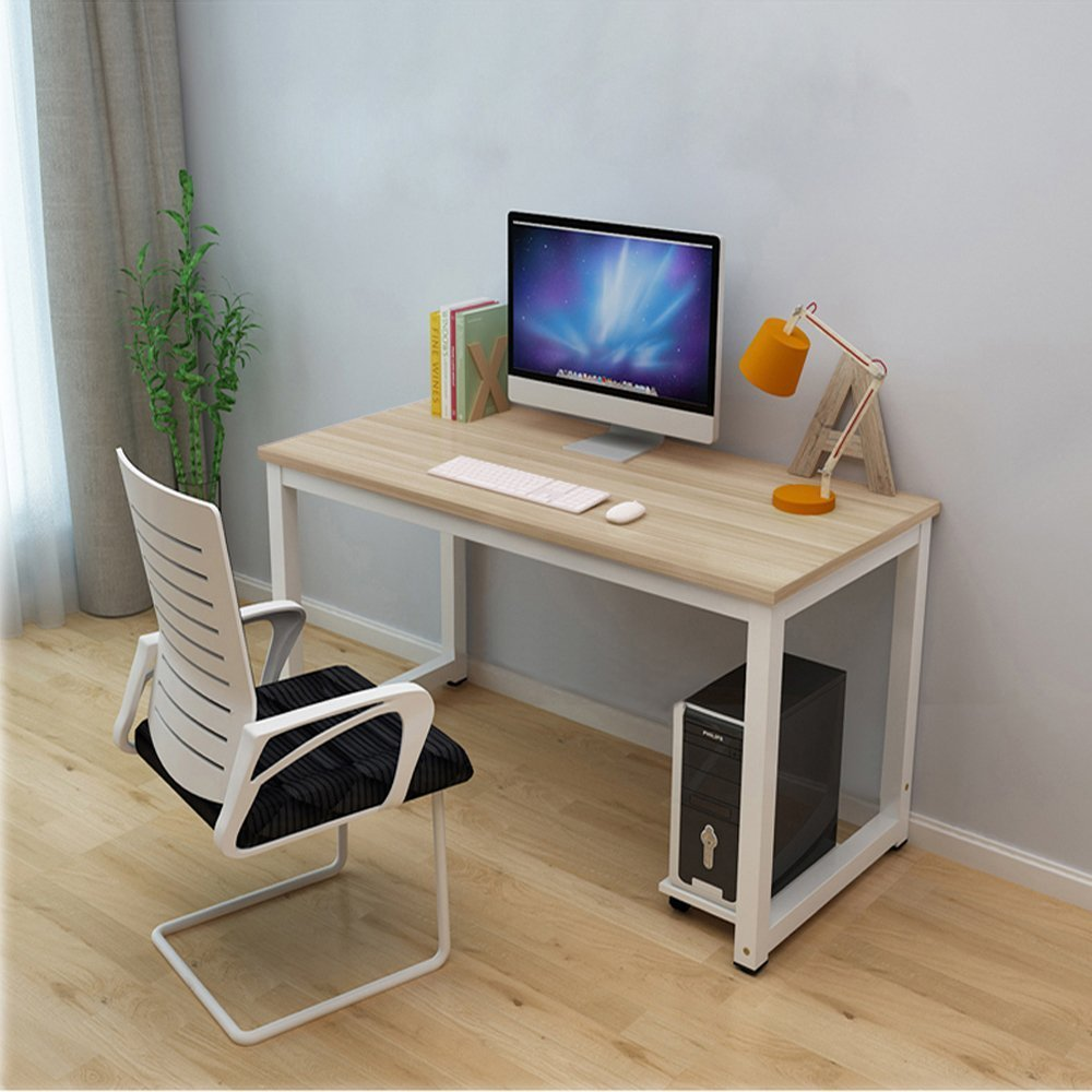Dripex Modern Simple Style Steel Frame Wooden Home Office Table - Computer PC Laptop Desk Study Table Workstation for Home Office and More (Beech&Black Legs)