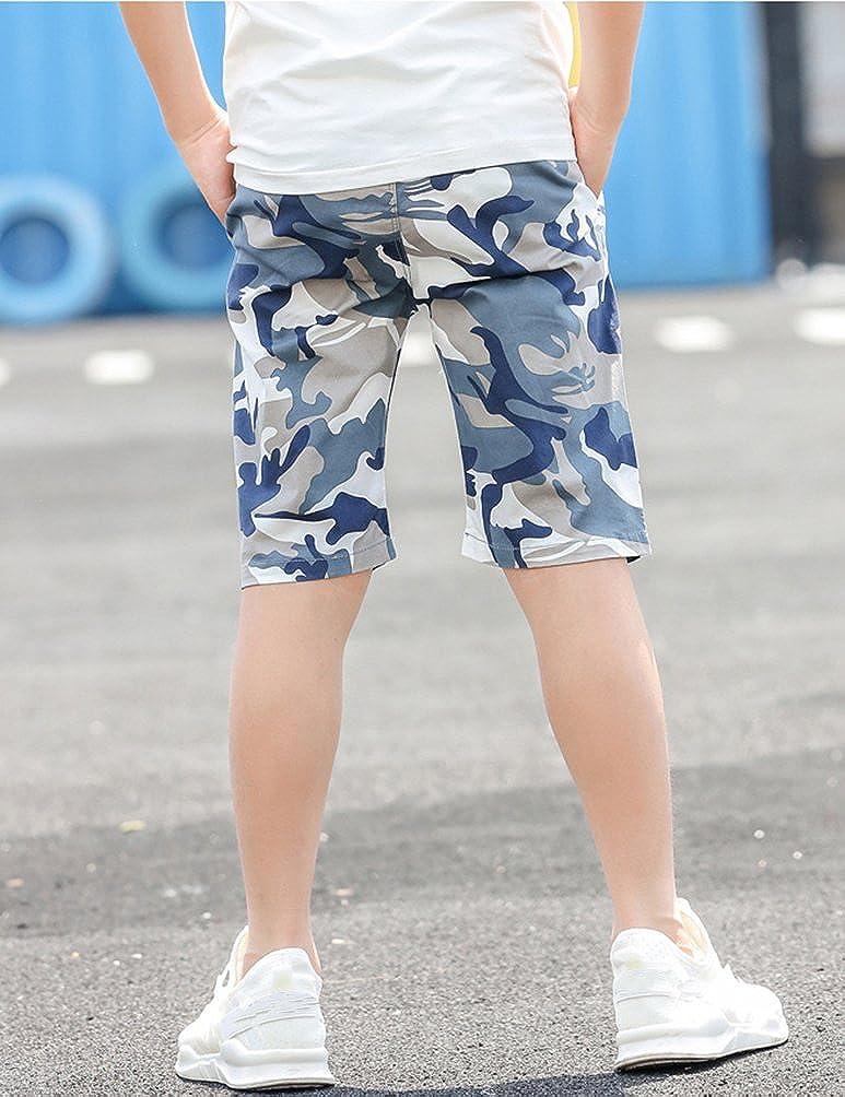 Laus Boys Shorts Summer Camouflage Chino Shorts with Pockets and Drawstring