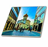 3dRose Alexis Photo-Art - Moscow City - Moscow Digital Photo Art - Old church in the modern business area - 8 Inch Ceramic Tile (ct_273857_3)