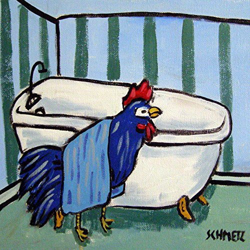 Chicken Hen Rooster in the Bathroom farm animal art tile coaster gift (Coasters Hen & Rooster)