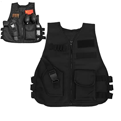 Children Tactical Vest Black Children Kids Security Guard Waistcoat Cs  Field Combat Training Military Army Tactical Vest Oxford Boys Costumes  Games ... 6152b3b2f16