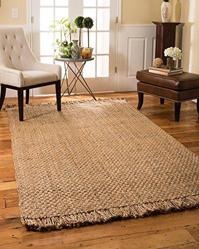 Natural Area Rugs 100% Natural Fiber Handmade Reversible Basketweave Chunky Paloma Jute Rectangular Rug (8' X 10') Beige