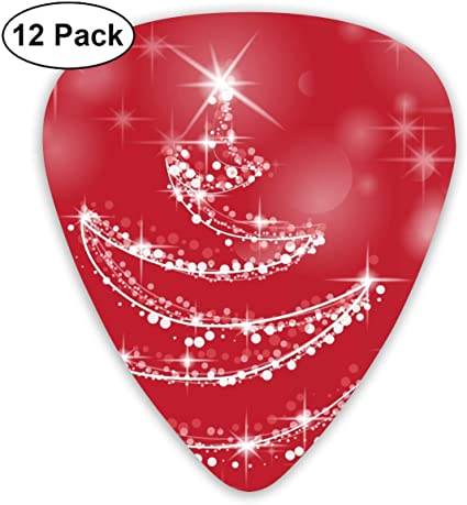 Funny Christmas Red Star Shining Lines Tree Guitar Picks - 12 pack ...