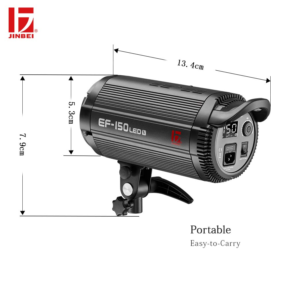 JINBEI EF-150 150Ws Dimmable LED Video Light Continuous Lamp with Bowens Mount Daylight Balanced Video Light 5500K for YouTube Vine Portrait Photography Video Lighting Studio Interview RA 95+ by JINBEI (Image #6)