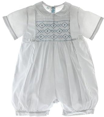 33ac85bfa48b Amazon.com  Boys White Dressy Romper Outfit Blue Smocking Feltman ...