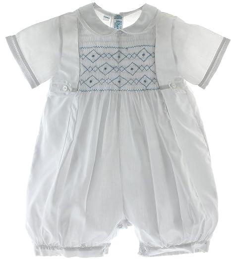 c6cdd19b53f Amazon.com  Boys White Dressy Romper Outfit Blue Smocking Feltman ...